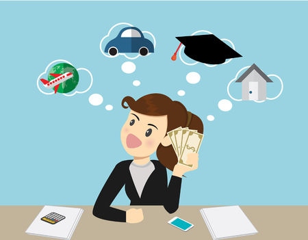 Happy smiling business woman holding dollars and thinking how to spent its. travel,education,buying car,loan house.Cartoon Illustration
