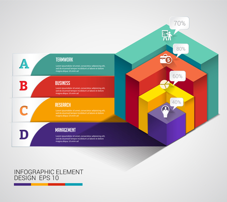 cubic: 3d cubic modern chart business infographic. Can uesd for presentation, data diagram and infographic business