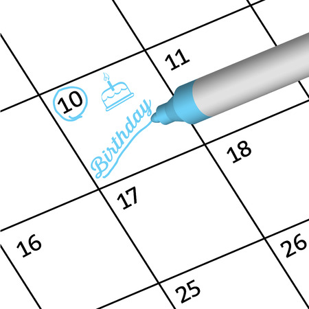 mark pen: Pen mark important day with birthday. Illustration