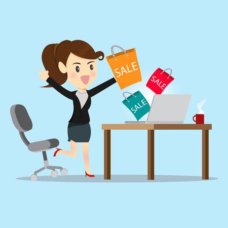 Las mujeres de negocios de compras en línea con el sitio web. Vectores