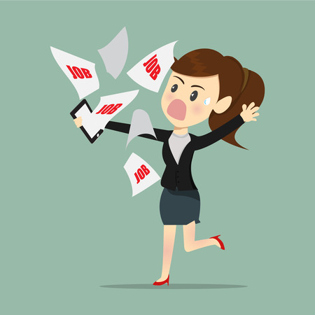 tried: Business women busy and tried with e-mail work a receive from boss. Illustration