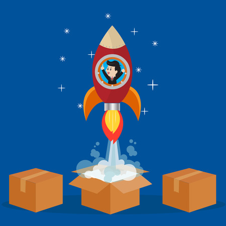 soar: Businessman in rocket to soar out  of box towards the future.