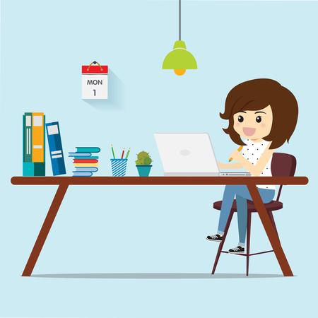 Freelance women thinking work for customers.