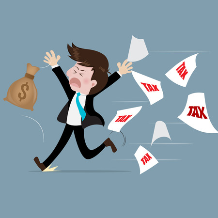 evade: Businessman run away from tax With fear.