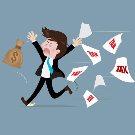 run away: Businessman run away from tax With fear.