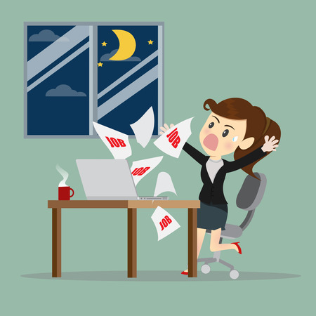 Businesswomen receive E-mail at midnight.