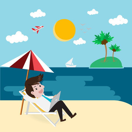 passive income: Business relax on beach with tablet.Vector illustration business cartoon concept. Illustration