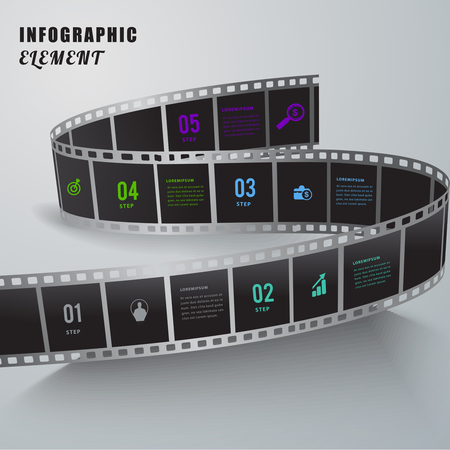 tabs: Abstract film creative infographic element.