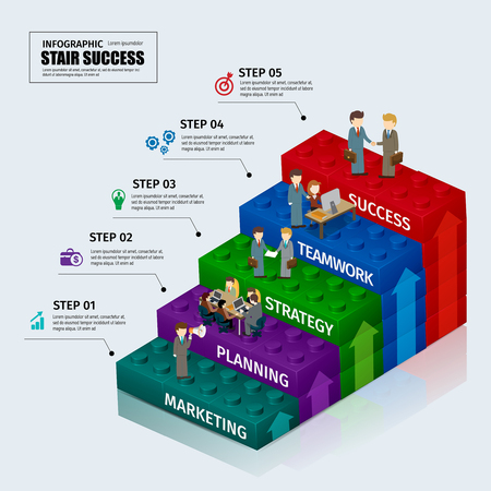 toy blocks: Toy blocks chart business step stair teamwork infographic concept.can used for presentation,data,diagram,chart and website design Illustration