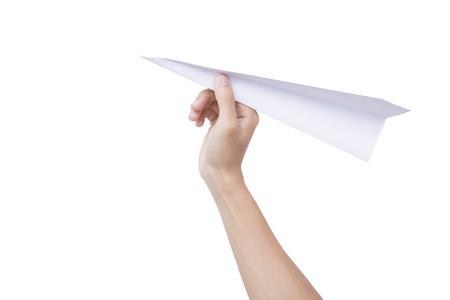 흰색 배경에 고립 된 종이 비행기를 들고 손을. 개념 새로운 혁신과 새로운 창의력.