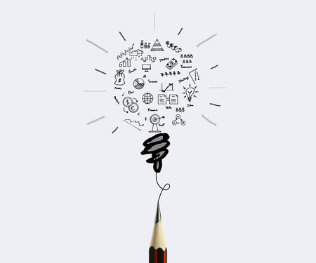 pencil drawing business graph with light bulb concept for idea, innovation and inspiration for business