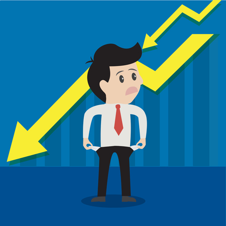 empty pocket: Businessman is unhappy ,bad and empty pocket or on money.Vector illustration cartoon business concept.