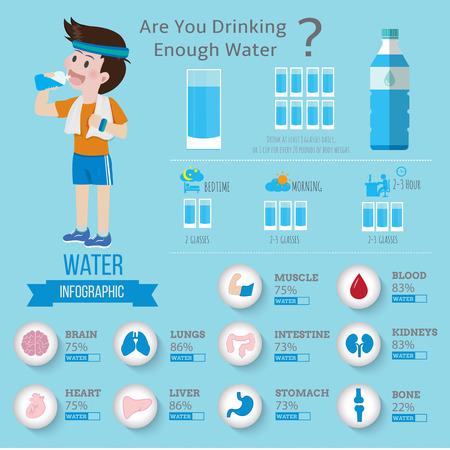 Drinking Water for health infographics.Vector illustrator cartoon information.