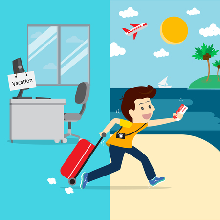 Business going vacation.Vector illustration business cartoon concept. Illustration