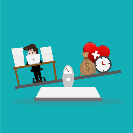 Work is a life.Vector illustration business cartoon concept.