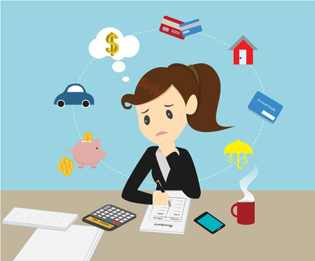 expenditure: Businesswomen Managing account family finances for income and expenditure.