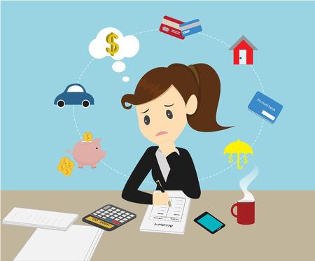 Empresarias manejo de las finanzas de la familia cuenta de ingresos y gastos.