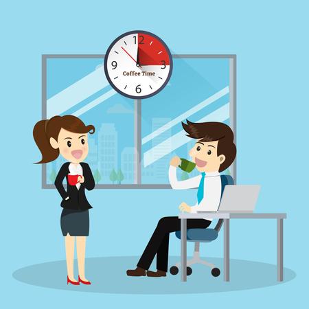 tarde de cafe: Tarde de café para worker.Vector concepto de ilustración de dibujos animados de negocios.
