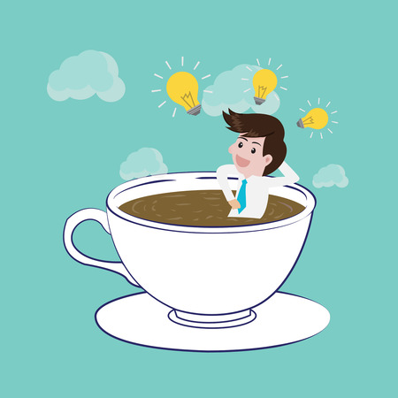 tiredness: Coffee time is happy and create idea.Vector illsutration business concept design.