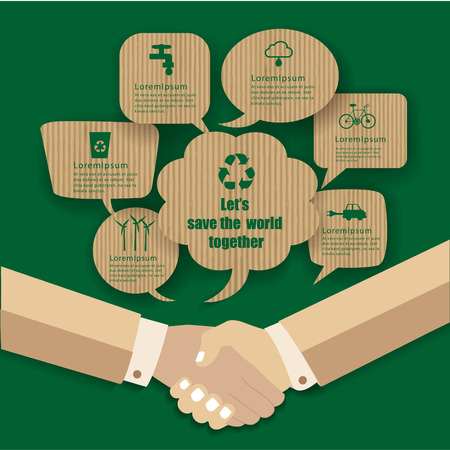 manos estrechadas: Eco design- Handshakes go to save the world. Green and Sustainable, vector blurred background.