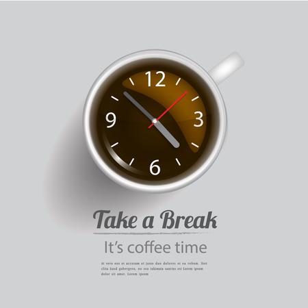 コーヒー休憩を取る。ベクトルの図記号とアイコン デザイン コンセプト。