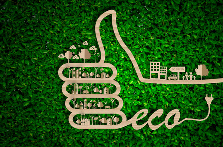Journée mondiale de l'environnement. sauvons le concept de world.ecology, le concept de ville verte sur papier craft die cut. Eco conception - vert et durable, vecteur herbe fond flou.