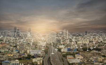 City scape and social network connection technology. network connection concept Imagens