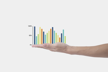 business hand holding business graph. concept presentation finance growing. Stock Photo