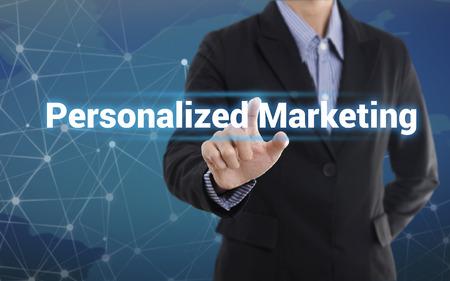 ビジネスマン手押すとボタンをお好みのマーケティング。仮想画面にログインします。ビジネス コンセプトです。 写真素材