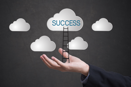 conquer: business hand with ladder conquer success on cloud. concept  business successful leader creative.