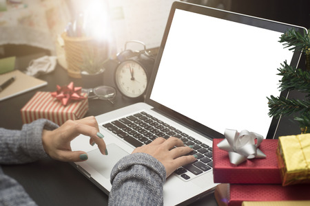 business woman hand typing computer keyboard on desk office concept office christmas and happy new year. Stockfoto