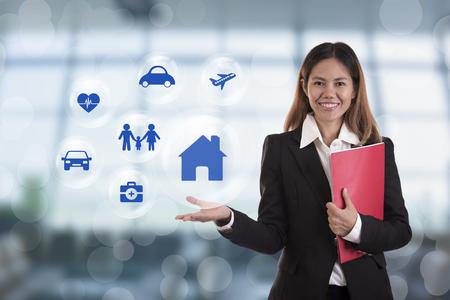 insurer: business salesman agent hand pressing button accident prevention concept assurance health-care insurance.