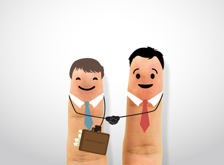 cooperate: business fingers handshake. concept collaboration and partner.