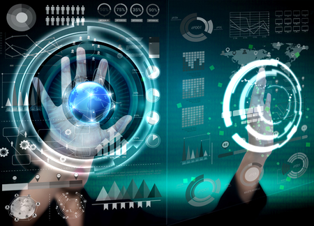 Businesswomen touching financial analysis graph with key performance indicators on virtual screen.