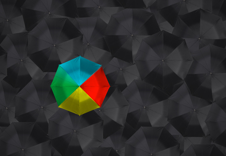 best shelter: colorful umbrella and many black umbrellas. business leader different concept.