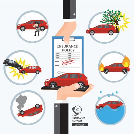 Car insurance service. Safety and protect your life .Hand business agent put document paper approve for customer to confirm the benefits for automobile. Stock Illustratie
