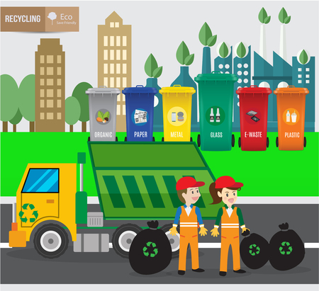 dumpster: Waste recycing infographic and green ecology recycle.environmental friendly. Can be used for business layout, banner, diagram, statistic, web design, info chart, brochure template. vector illustration