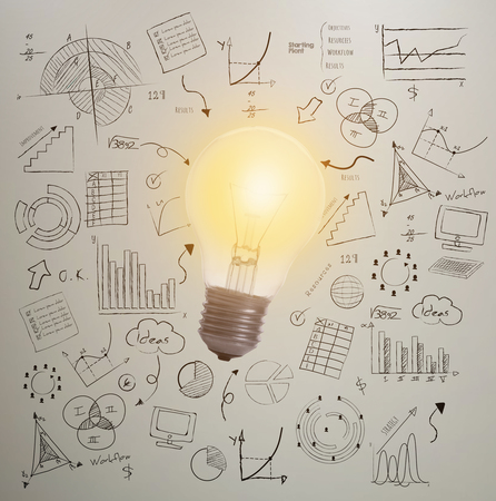 Hand Draw Lightbulb On Wall Background. Concept For New Ideas ...