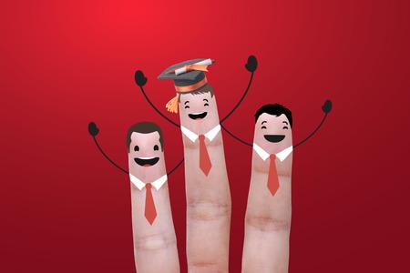 three finger success education graduate. concept celebration Stock Photo