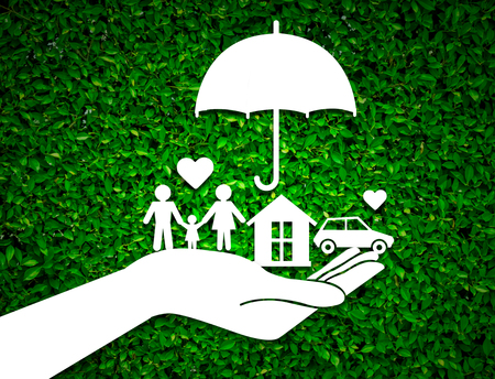insurer: paper salesman agent hand holding family protection on green leaves background. concept accident prevention healthcare insurance. Stock Photo