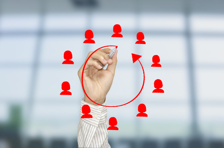 Business hand write icon people on networking system. concept employment,recruitment, hiring social network communication. Stock Photo