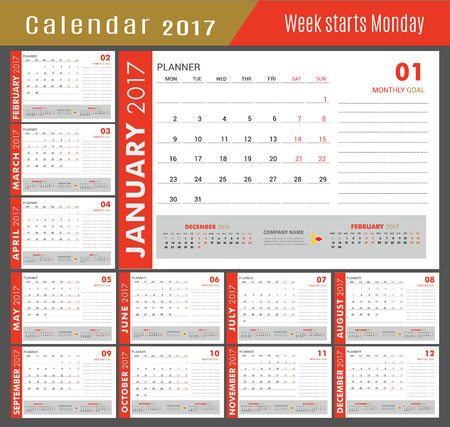 event planning: January-December for Calendar  2017 year.Week starts Monday. Vector design stationery template layout illustration. Yearly calendar template set 12 months  Print artwork.