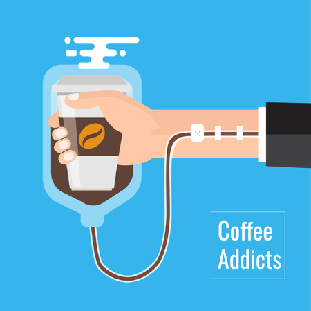 Coffee addiction concept element. business need more coffee,Vector illustration business cartoon concept.