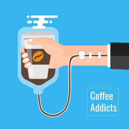 Koffie verslaving concept element. zakelijk, behoefte, meer, koffie, Vector, illustratie, zakelijk, spotprent, concept. Stockfoto - 76390830