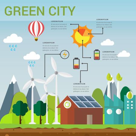 Concepto verde de la ciudad el concepto amistoso de la ecología del ejemplo del vector infographic, icono y muestra utiliza para el concepto de la carta, de los datos, de la educación, de la presentación, del diagrama y del negocio. Vectores