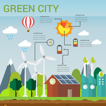 Green city concept.vector illustration ecology friendly concept infographic, icon and sign.can uses for chart,data,education,presentation,diagram and business concept.