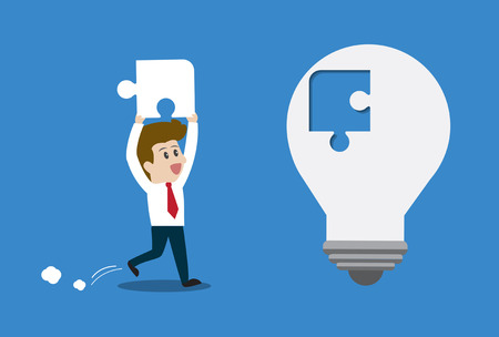 Businessman inserts the missing piece with light bulb.Vector illustration business cartoon concept.