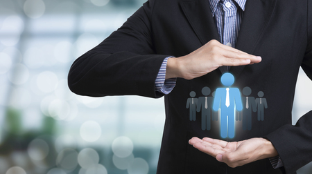 contact info: Business hand with icon people on networking system. concept employment,recruitment, hiring, human resources, hr management.