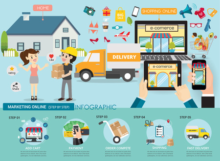 Marketing online service infographic conceptual.Delivery man sent to house your customer express.vector illustration.