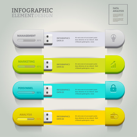 USB for information.business infographic option.can used for banner diagram workflow and web design layout,  presentation templates background.Vector illustration. Illustration